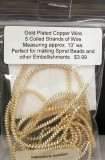 Wire Hollow Wire 1.6mm Gold Plated