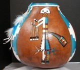 Finished Gourd Art - Native Ancient Image Turquoise and White