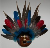 Finished Gourd Art - Gourd Mask Red/Blue Feathers