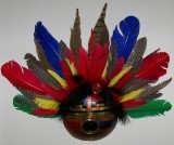 Finished Gourd Art - Gourd Mask Red/Yellow/Blue Feathers