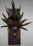 "Finished Gourd Art - Framed Gourd Mask Purple Leather 23""long x 8""wide"
