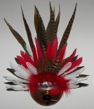 Finished Gourd Art - Gourd Mask Red/White Feathers
