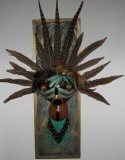 "Finished Gourd Art - Framed Gourd Mask Turquoise Leather Fringe 23""long x 8""wide"