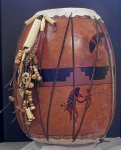 "Finished Gourd Art - Gourd Drum 13 and 1/2"" high"